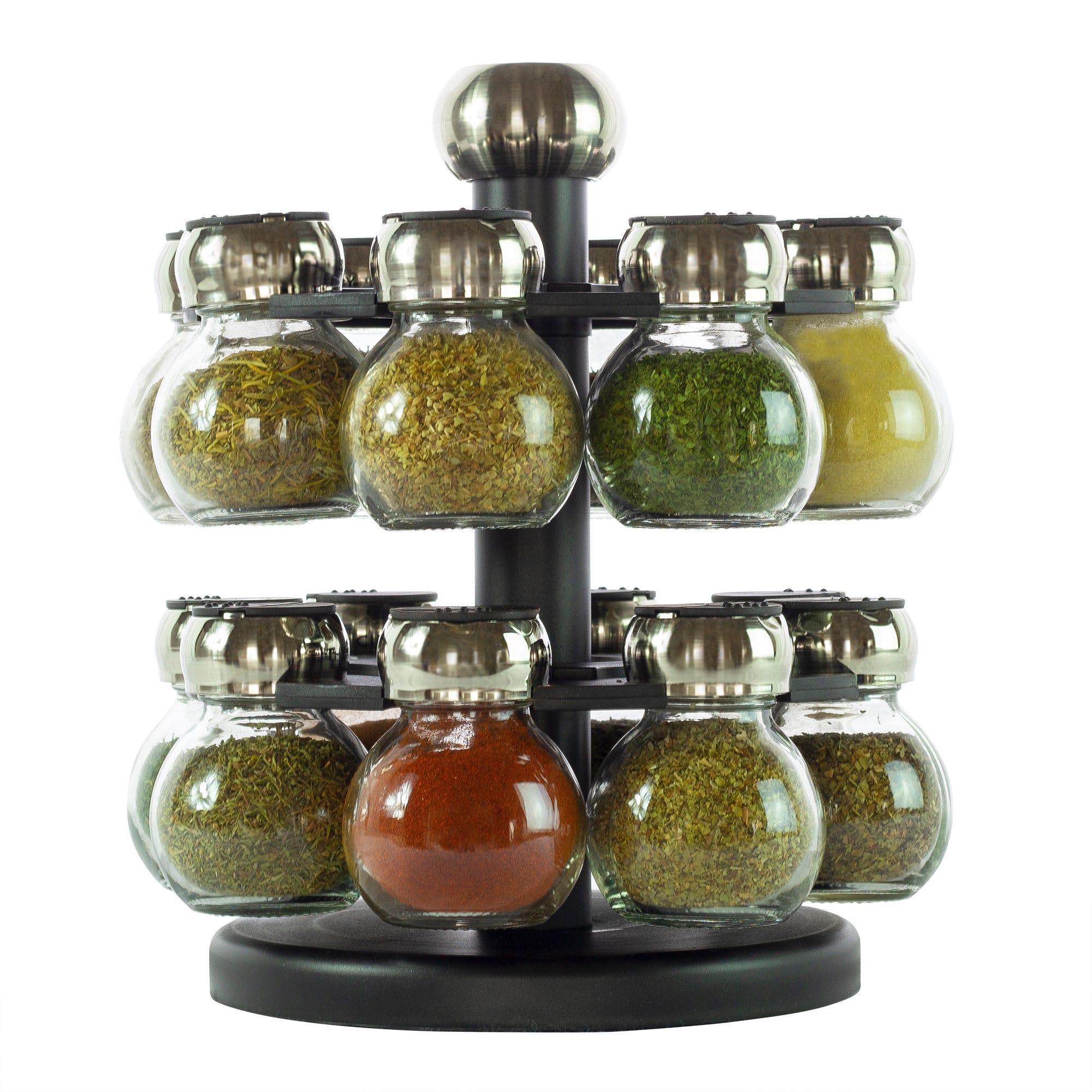 Especiero de vidrio Olde Thompson®, de 16 frascos tipo órbita